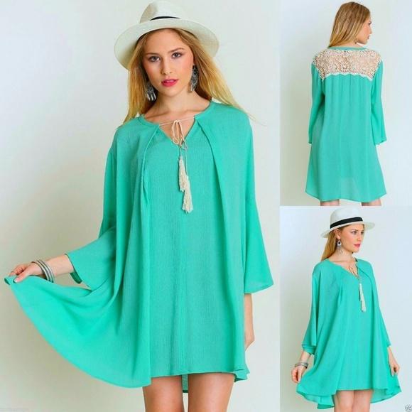 5f4523ca228 Umgee Dresses   Mint Tassel Tie Bell Sleeve Swing Dress Sxl   Poshmark
